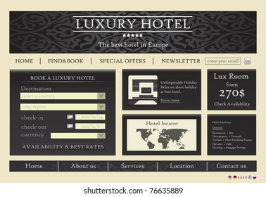 Hotel web site template vector