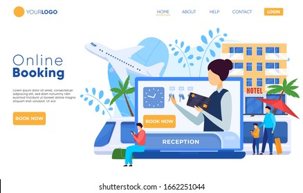 Hotel website design, online booking service, vector illustration. Room reservation and registration online, people booking hotel accommodation on website. Tourists check in service, reception desk