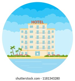Hotel, a white hotel on the beach. Resort hotel. Flat design, vector illustration, vector.