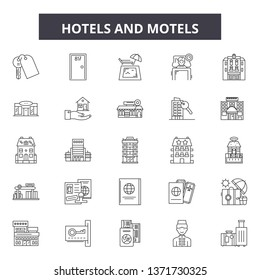 Hotels and motels line icons, signs set, vector. Hotels and motels outline concept, illustration: hotel,motel,travel,room,bed
