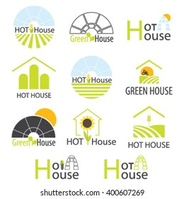 Hothouse collection. Set of vector greenhouse. Logo design for  hothouses and landscaping company, brand.