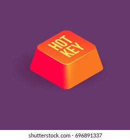 hotkey or shortcut, single red color keyboard key, isometric vector icon.