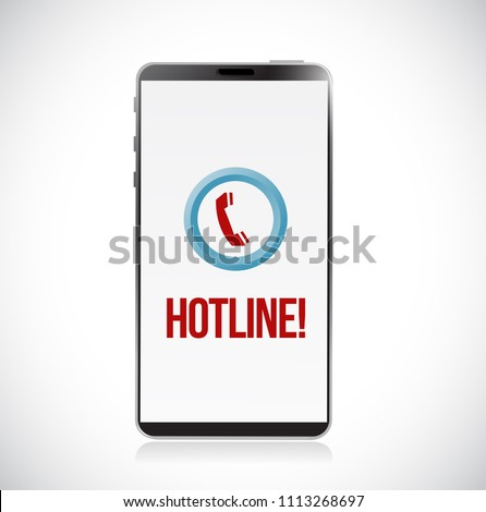hotline app icon on smartphone. Vector Illustration. isolated over white