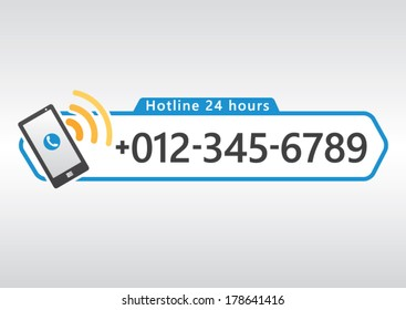 hotline cell phone icon with number design for app or website. Vector illustration