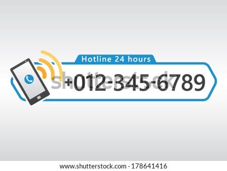 hotline cell phone icon number design のベクター画像素材