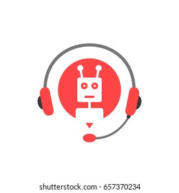 hotline service with chatbot assistant. concept of robotic manager 24/7 on line or web question of client experience. flat style trend modern logotype graphic design isolated on white background
