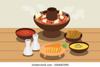 hotpot and ingredients