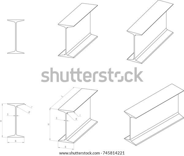 Hotrolled Standard Beam Ibeam Vector Drawing Stock Vector (Royalty