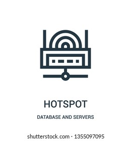 hotspot icon vector from database and servers collection. Thin line hotspot outline icon vector illustration. Linear symbol for use on web and mobile apps, logo, print media.