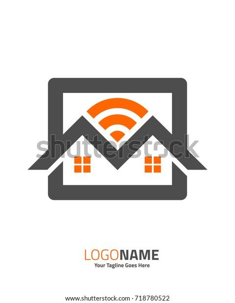 Hotspot Wifi Home Share Wifi Logo Stock Vector (Royalty Free