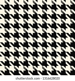 Hounds Tooth Black & White Vector Seamless Pattern