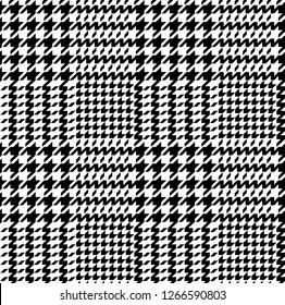 Hounds tooth check pattern. Seamless monochromatic plaid background.