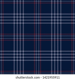 Hounds tooth check pattern. Seamless tartan plaid in dark blue, wine red, and grey for flannel shirt, scarf, poncho, or other modern textile design.