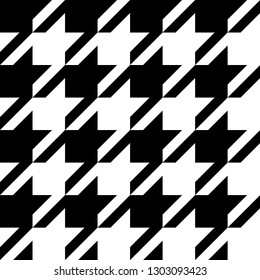 Hounds tooth classic motif black and white template. Simple geometric pie de poul allover print block for interior decoration, textile accessories, fabric cloth. Eighties fashion design vector graphic