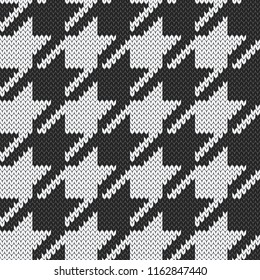 Hounds tooth jacquard knitted seamless pattern. Vector illustration.