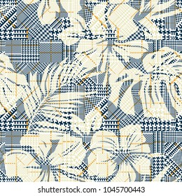 Hounds tooth plaid with abstract hibiscus flowers, vector seamless pattern wallpaper for summer wear fabric