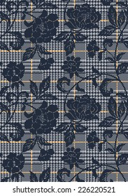Houndstooth with floral texture, Vector seamless pattern in custom colors