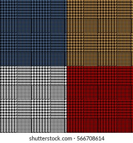 Houndstooth geometric plaid seamless pattern set, vector