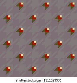 Houndstooth mirage pattern simple geometric red flowers design. Ditzy floral motif for flannel blanket, kids pyjamas, tweed fabric, textile accessories. Pie de poul checked all over print block.