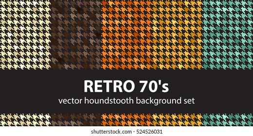 """Houndstooth pattern set """"Retro 70's"""". Vector seamless backgrounds"""