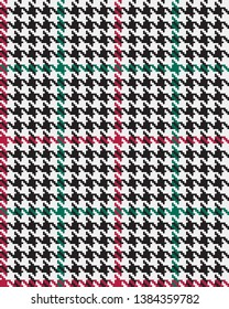 Houndstooth Plaid in Black & White with Red & Green Details--Seamless Pattern Vector Illustration