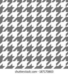 Houndstooth seamless black and white vector pattern. Traditional Scottish dark grey tile plaid fabric with gradient