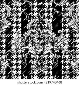 Hounds-tooth seamless pattern with baroque ornament.