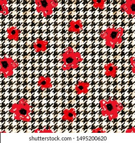 Houndstooth seamless pattern. Vintage textile texture. Classic fashion. crowbars images pattern