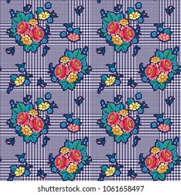 Hounds-tooth seamless vector pattern. Geometric print in blue and white color . Classical English background Glen plaid (Glenurquhart check) for fashion design with  bouquets roses flowers. Floral mot