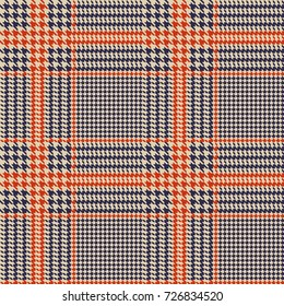 Hounds-tooth seamless vector pattern. Geometric print in dull blue, orange and beige colour .  Classical English background Glen plaid (Glenurquhart check) for fashion design.