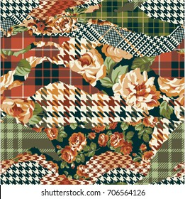 houndstooth tartan and roses fabric patchwork, vector seamless pattern
