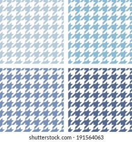 Houndstooth vector tile blue and white pattern set. Tweed fashion seamless background with retro dark and light tartan woven for desktop wallpaper or website design