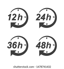 hour clock arrow vector icon. 12h, 24h, 36h, and 48h shipping time on progress