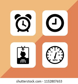 hour icon. 4 hour set with clock, meter and pass vector icons for web and mobile app