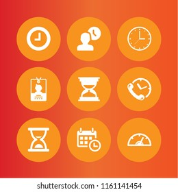 hour icon. 9 hour set with pass, clock, calendar with a clock time tools and hourglass vector icons for web and mobile app