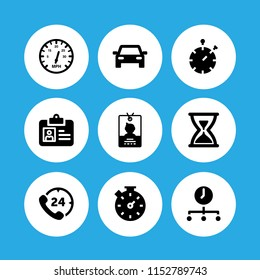 hour icon. 9 hour set with time, hours phone service, meter and traffic vector icons for web and mobile app