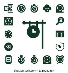 hour icon set. 17 filled hour icons.  Simple modern icons about  - Hourglass, Clock, Stopwatch, Backward, Sandclock, Timetable, Timer, Watch, Time, Clocks, Alarm clock