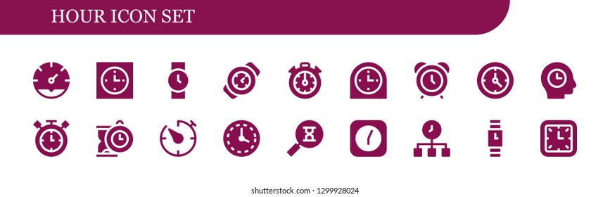 hour icon set. 18 filled hour icons.  Simple modern icons about  - Clock, Wristwatch, Watch, Stopclock, Alarm clock, Time, Timer, Wall clock, Sandclock