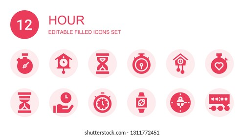 hour icon set. Collection of 12 filled hour icons included Chronometer, Cuckoo clock, Sandclock, Hourglass, Time, Timer, Wristwatch, Clock, Stopwatch, Deadline