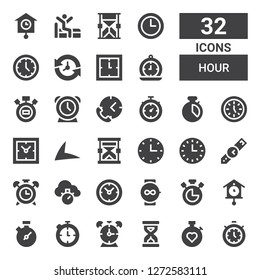 hour icon set. Collection of 32 filled hour icons included Timer, Stopwatch, Sandclock, Alarm clock, Chronometer, Cuckoo clock, Watch, Clocks, Wristwatch, Wall clock, Hourglass