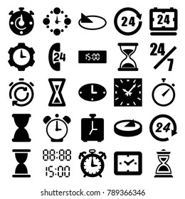 Hour icons. set of 25 editable filled hour icons such as hourglass, 24 hours support, clock, 24 hours, wall clock, digital time, sundial, alarm