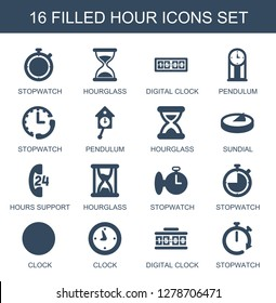hour icons. Trendy 16 hour icons. Contain icons such as stopwatch, hourglass, digital clock, pendulum, sundial, hours support, clock. hour icon for web and mobile.