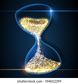 Hourglass, abstract magic sand clock wallpaper. Vector illustration.
