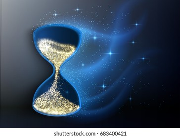 Hourglass, abstract magic sand clock wallpaper. Vector illustration