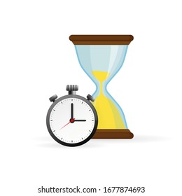 Hourglass and analog clock icons in flat style, sandglass timer on a white background. Vector design elements.