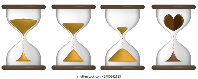 Hourglass antique concept for business deadline, urgency and running out of time. Hourglass with a heart inside. Time to love. Transparent hourglass icon, sandclock, flat design vector eps10