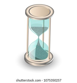 Hourglass antique instrument. Hourglass as time passing concept for business deadline, urgency and running out of time. Transparent hourglass icon, sandglass