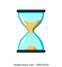Hourglass antique instrument. Hourglass as time passing concept for business deadline, urgency and running out of time. Transparent hourglass icon, sandglass or sandclock, flat design vector eps10