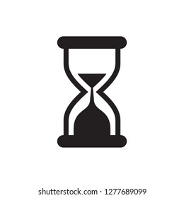 Hourglass - black icon on white background vector illustration for website, mobile application, presentation, infographic. Sandglass concept sign. Time holding. Graphic design element.