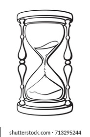 Hourglass. Black and white hand drawn vector illustration isolated on white background.